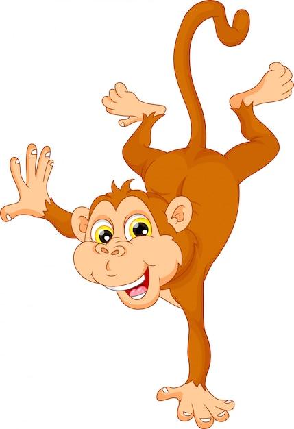 Cute monkey cartoon standing on his hand Premium Vector