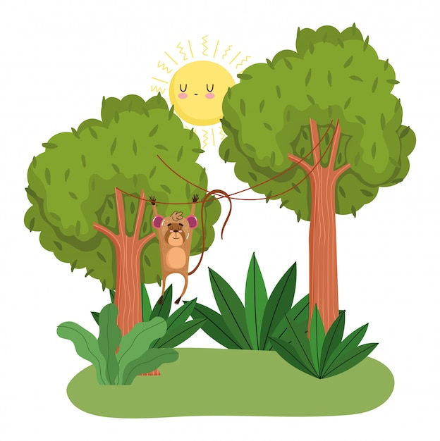 緑の森の木をぶら下げかわいい猿 Premiumベクター