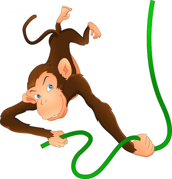 Милая обезьяна висит Premium векторы