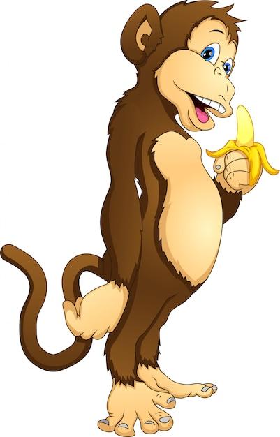Милая обезьяна держит банан Premium векторы