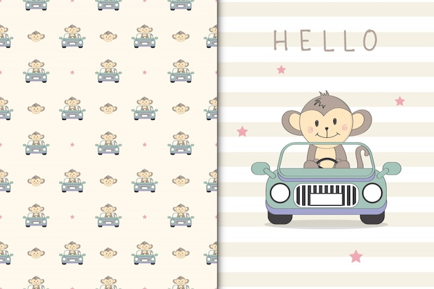 Cute monkey illustration drivng a car and seamless pattern Premium Vector