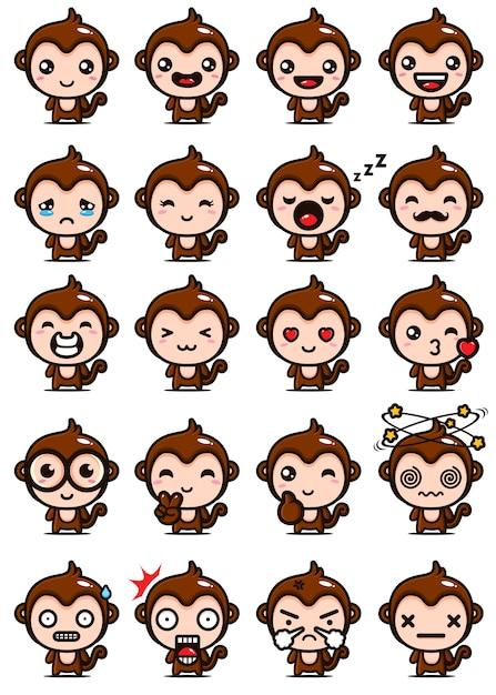 かわいい猿のマスコットセットのデザイン Premiumベクター