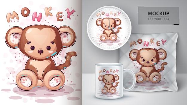 かわいい猿のポスターとマーチャンダイジング 無料ベクター
