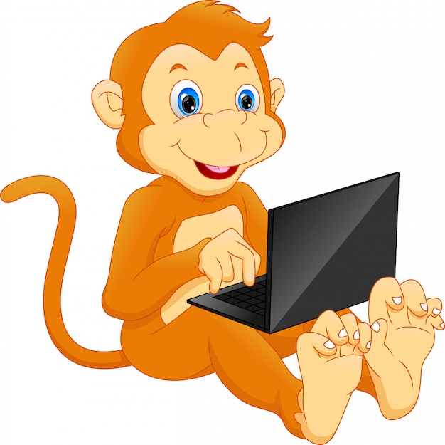 Cute monkey using laptop cartoon Premium Vector