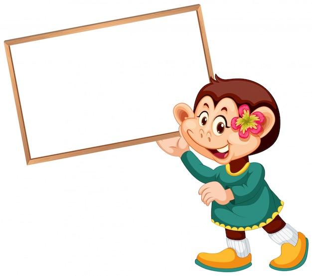 Милая обезьяна с баннером Бесплатные векторы