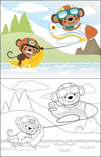 Мультфильм милые обезьяны играют банан Premium векторы