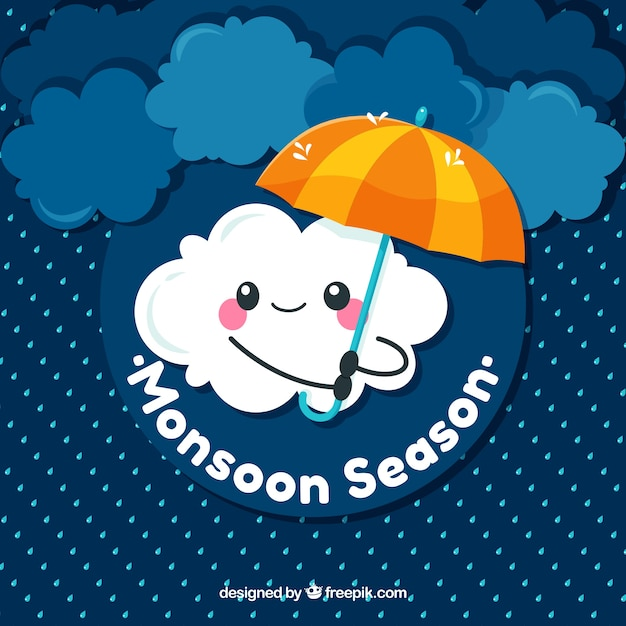 Cute monsoon background with cloud Free Vector