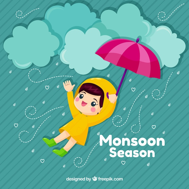 Cute monsoon background with kid and umbrella Free Vector