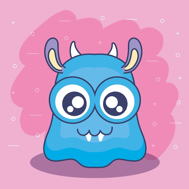 Cute monster card icon Premium Vector