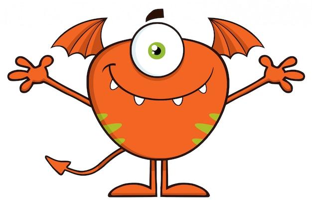 Cute monster cartoon character open arms Premium Vector
