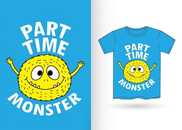 Cute monster cartoon for t shirt Premium Vector