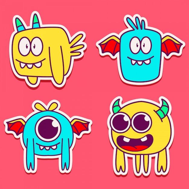 Cute monster character design illustration Premium Vector