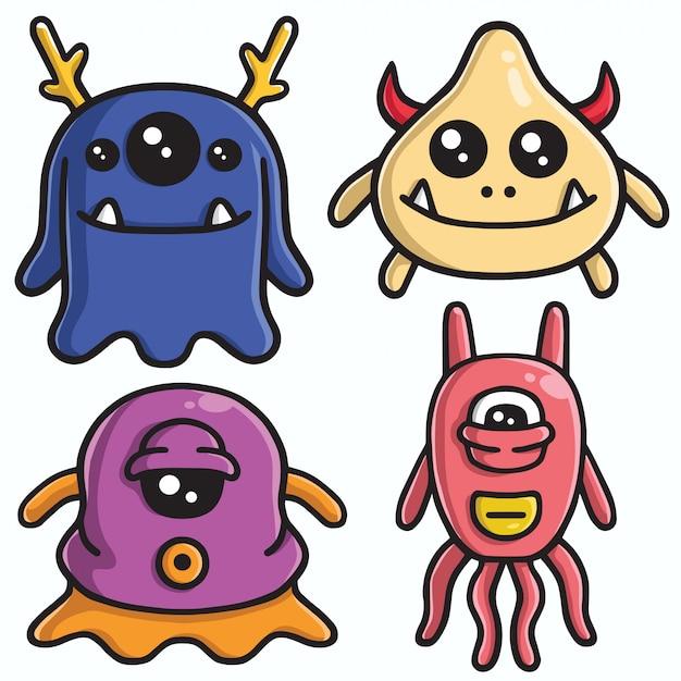 Cute monster character design vector set Premium Vector