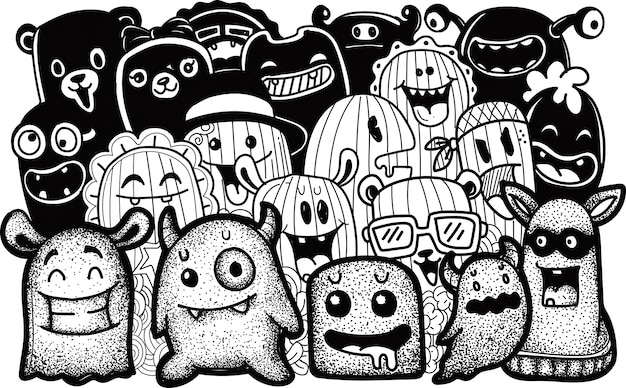 Cute monster collections in doodle style Premium Vector