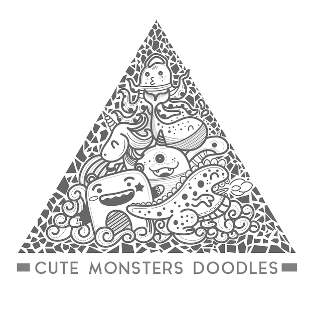Cute monster doodle in the triangle style frame vector. Premium Vector
