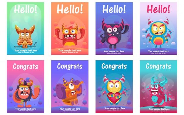 Cute monster greeting cards set Premium Vector