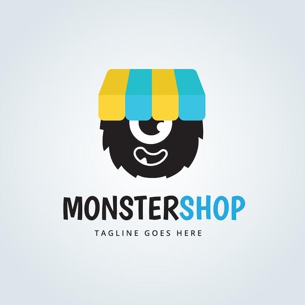cute monster logo design vector free download