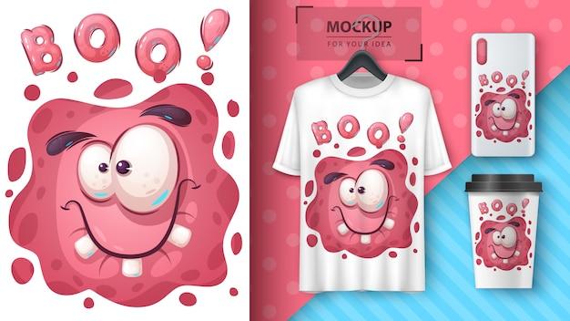 Cute monster merchandising Premium Vector