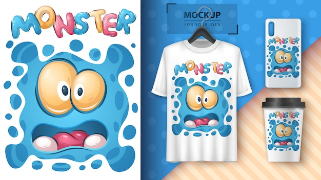 Cute monster poster and merchandising Free Vector