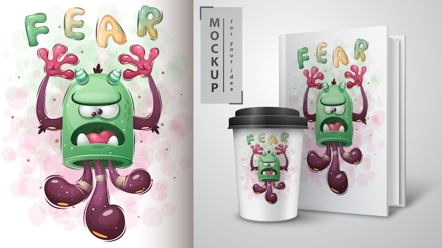 Cute monster poster and merchandising. Free Vector