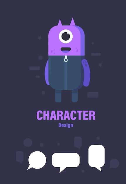 Cute monster and speech bubble. monster vector illustration Premium Vector