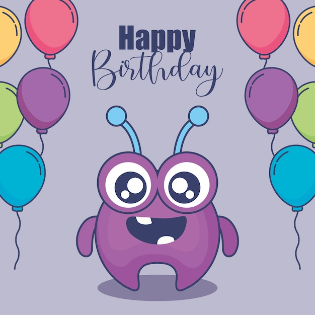 Cute monster with balloons helium birthday card Premium Vector