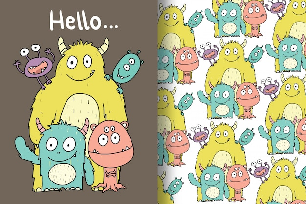 Cute monsters are hand drawn with editable patterns Premium Vector
