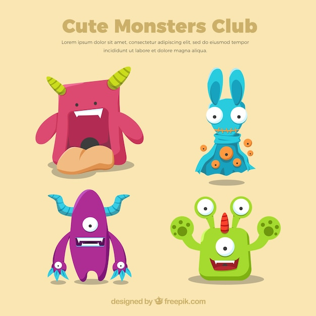 Cute monsters cartoon Free Vector