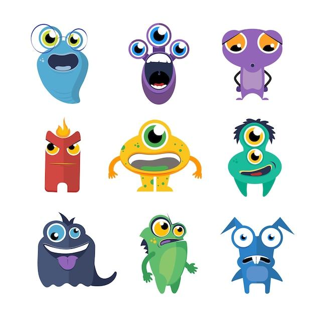 귀여운 괴물 벡터 만화 스타일에서 설정합니다. 외계인 만화 캐릭터, 생물 컬렉션 재미있는 그림 무료 벡터
