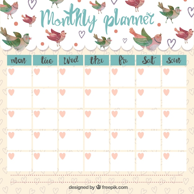 cute monthly planner with singing birds vector premium download