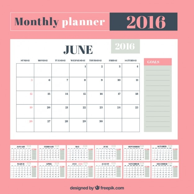 Cute monthly planner Vector | Free Download