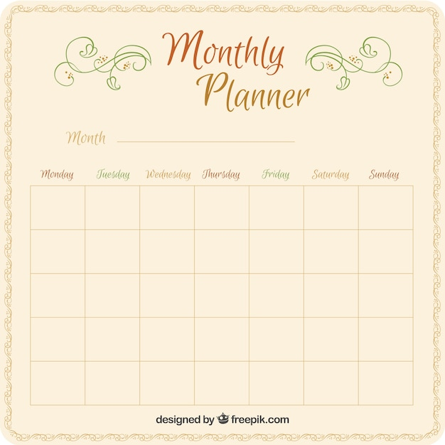 Calendar Planner Vector Free : Cute monthly planner vector free download