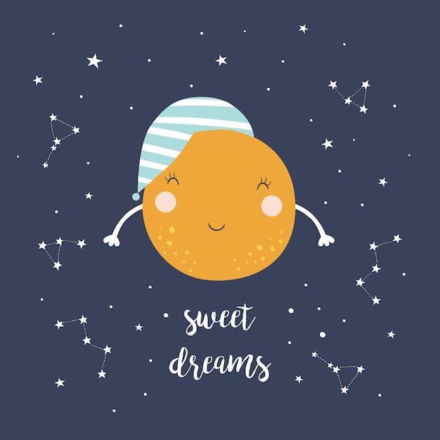 귀여운 달과 별 프리미엄 벡터