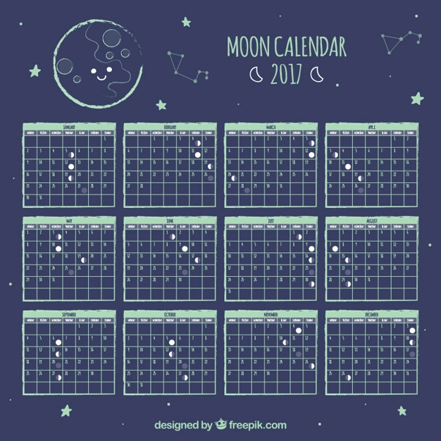 Cute moon calendar with stars