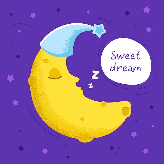 귀여운 달 그림 프리미엄 벡터