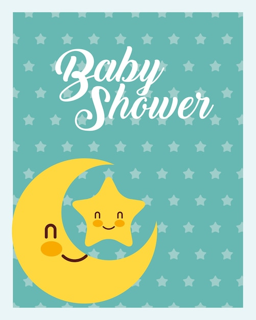 Cute moon and star dots background baby shower card Premium Vector