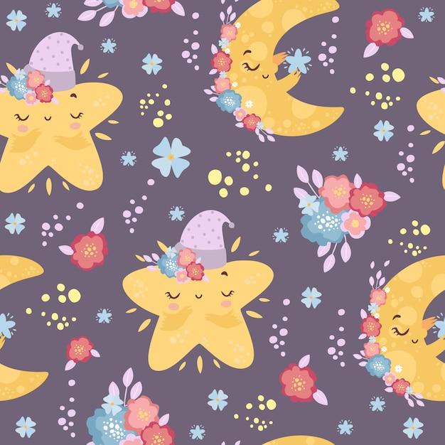 Carino luna e stelle seamless pattern a colori. Vettore gratuito