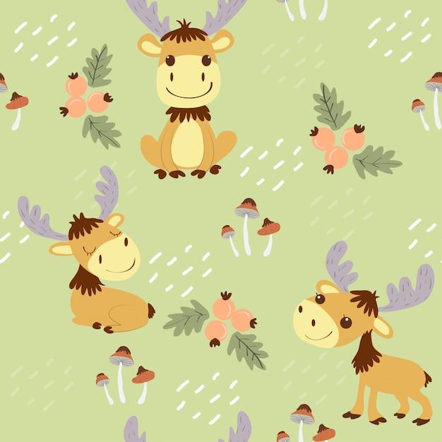 Cute moose in the wildlands seamless pattern Premium Vector