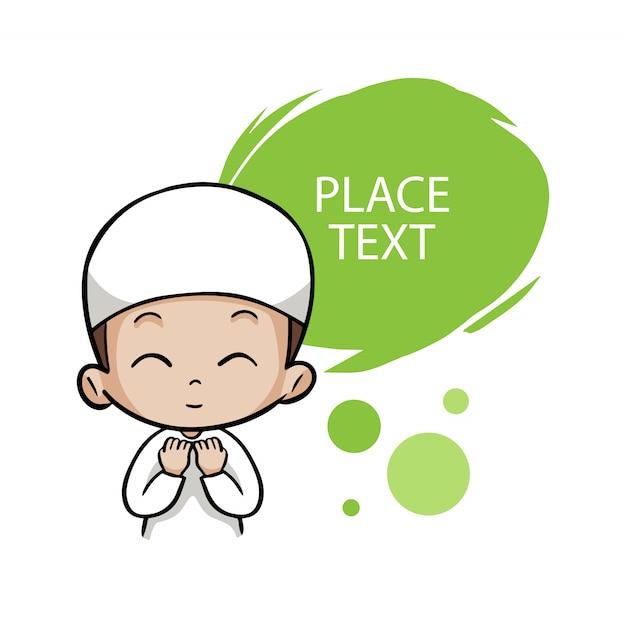 Cute moslem boy children pray Premium Vector