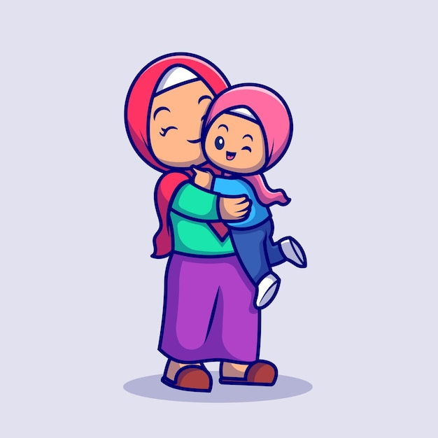 Cute mother and daughter moslem celebrating eid mubarak cartoon vector icon illustration. people religion icon concept isolated premium vector. flat cartoon style Free Vector
