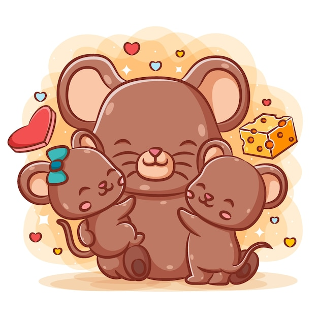 Cute mother mice hug her baby mice near the cheese Premium Vector
