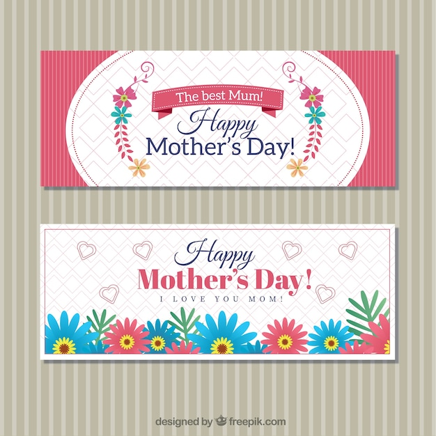 Cute mother\'s day banners with flowers in\ vintage style