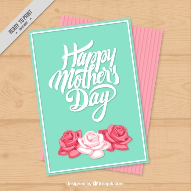 Cute mother\'s day card with roses