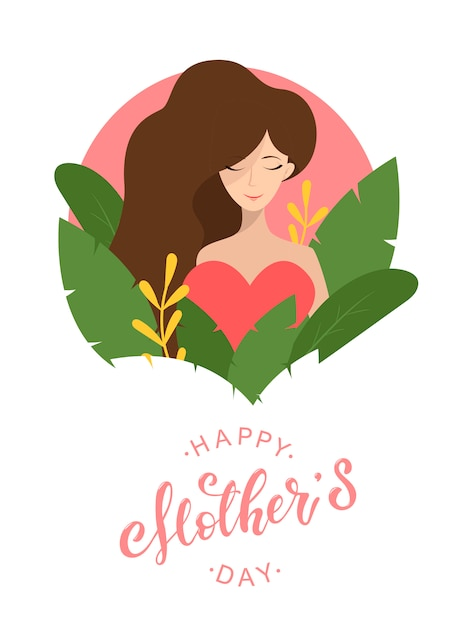 Cute mother's day card Premium Vector