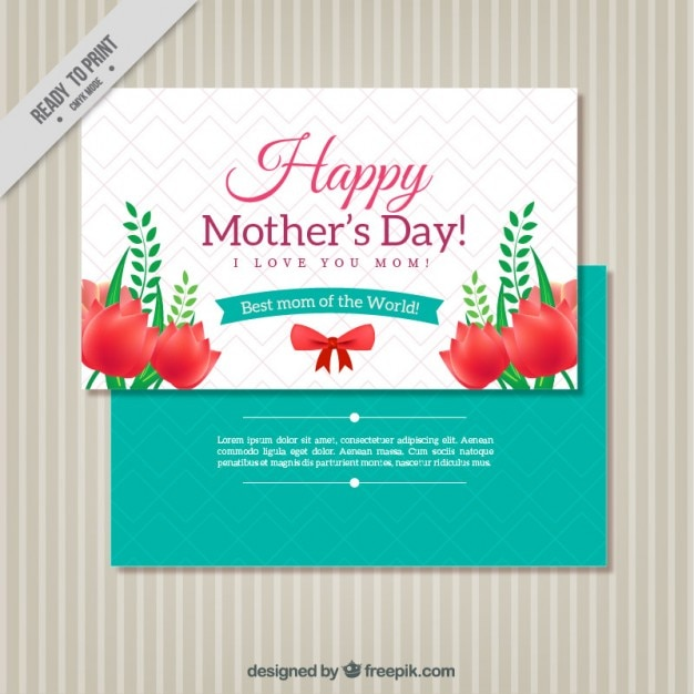 Cute mother\'s day greeting with red\ flowers