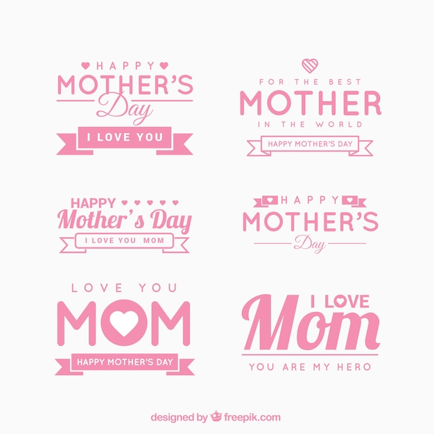 cute mother 39 s day stickers vector premium download. Black Bedroom Furniture Sets. Home Design Ideas