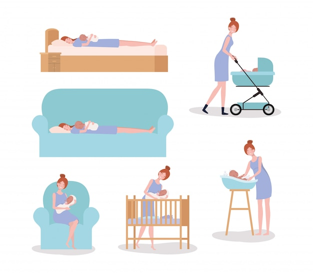 Cute mother with newborn  baby set activities Free Vector