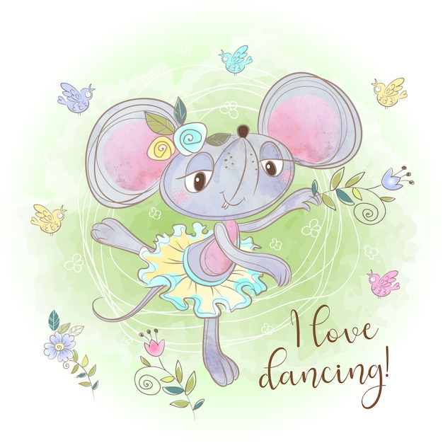 Cute mouse ballerina dancing. i love dancing. inscription. Premium Vector
