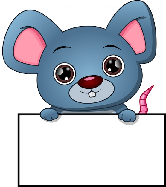Cute mouse cartoon and blank sign | Premium Vector