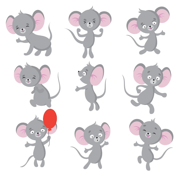 Cute mouse. cartoon mice in house. isolated characters ...